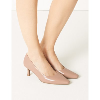 M&S Collection Wide Fit Kitten Heel Court Shoes