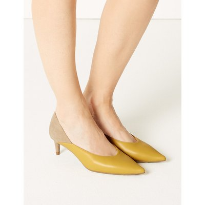 M&S Collection Kitten Heel Pointed Court Shoes