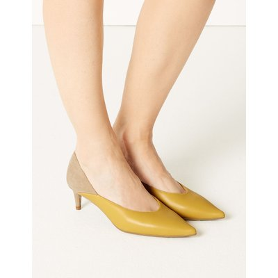 Kitten Heel Pointed Court Shoes yellow