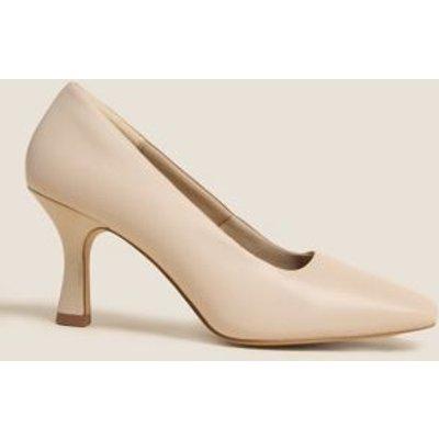 M&S Womens Leather Square Toe Court Shoes - 3 - Porcelain, Porcelain,Black