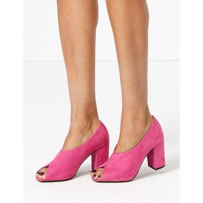 M&S Collection Peep Toe Block Heel Shoe Boot