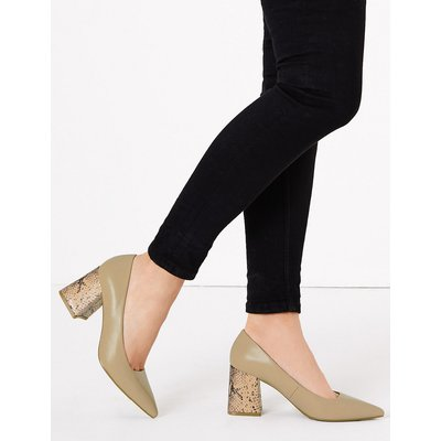 M&S Collection Block Heel Pointed Toe Court Shoes