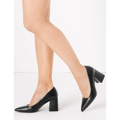 M&S Collection Block Heel Pointed Court Shoes
