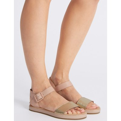 Leather Two Band Sandals pink