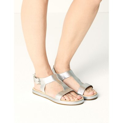 Leather T-Bar Sandals silver