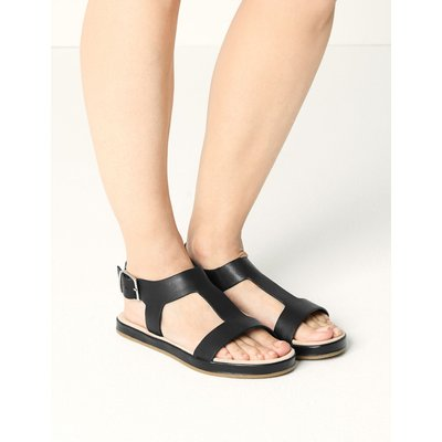 Leather T-Bar Sandals black