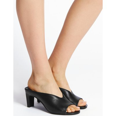 Leather Straight Back Mules Sandals black