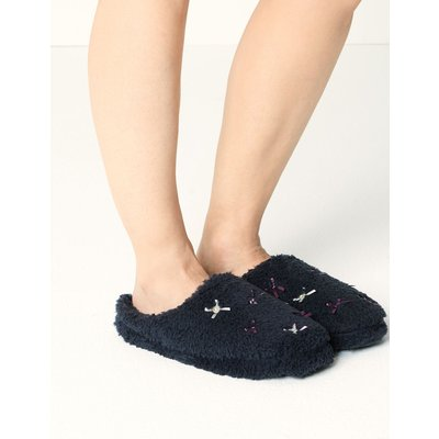 Mule Bow Detail Slippers blue