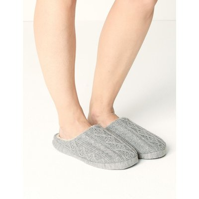 Cable Knit Mule Slippers grey