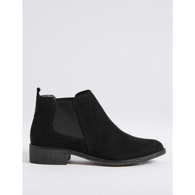 Suede Chelsea Block Heel Ankle Boots black