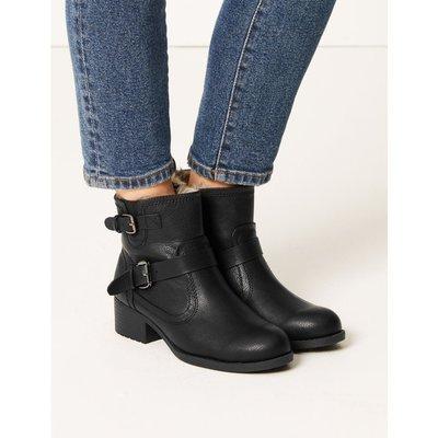 Biker Block Heel Ankle Boots black