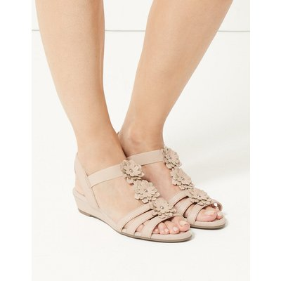 M&S Collection Leather Flower Sandals
