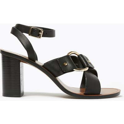 M&S Collection Leather Ring Detail Block Heel Sandals