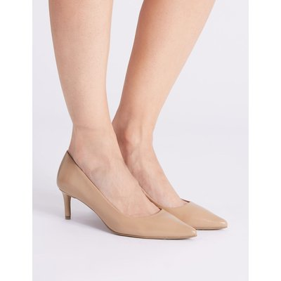 Leather Kitten Heel Court Shoes nude