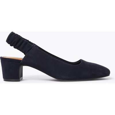 M&S Collection Suede Block Heel Square Toe Slingback Shoes