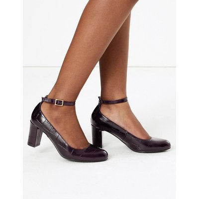M&S Collection Leather Ankle Strap Court Shoes