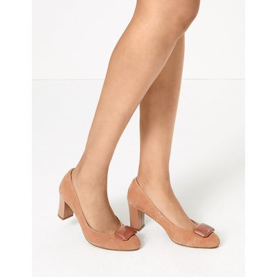 M&S Collection Suede Almond Toe Trim Court Shoes