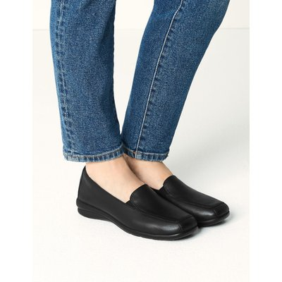 Leather Wedge Heel Loafers black