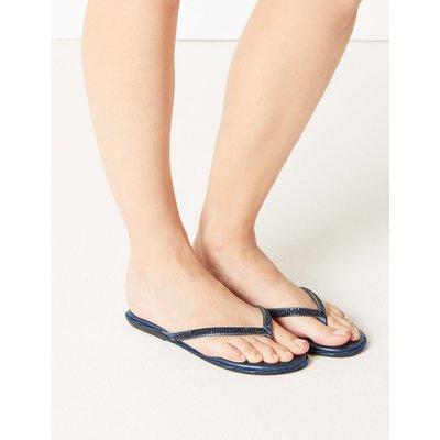 Diamanté Flip-flops Sandals blue