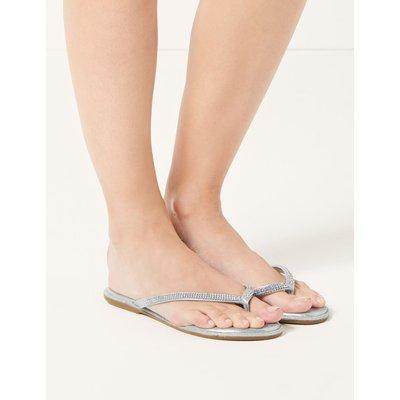 Diamanté Flip-flops Sandals silver