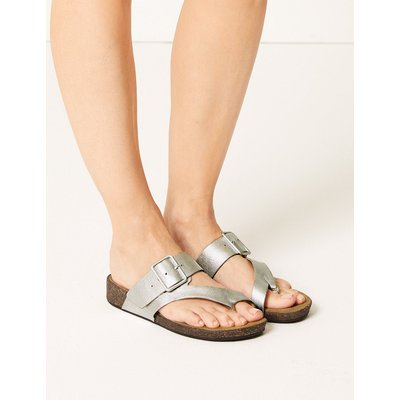 M&S Collection Wide Fit Leather Toe Thong Sandals