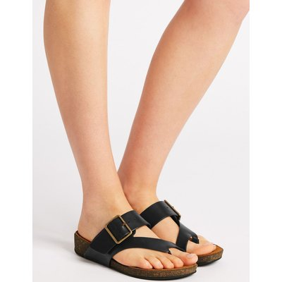 Wide Fit Leather Toe Thong Mule Sandals black