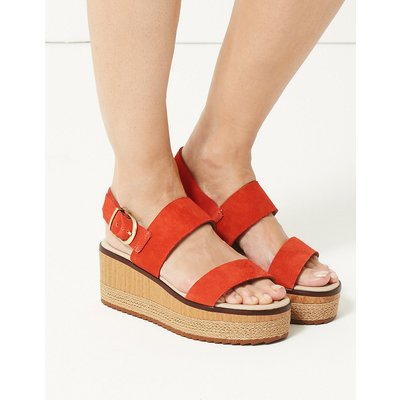 M&S Collection Wide Fit Suede Two Band Sandals