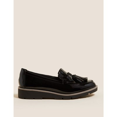 Wide Fit Leather Tassel Loafers black