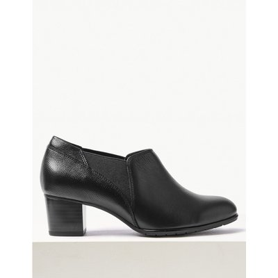 Wide Fit Leather Block Heel Chelsea Shoe Boots black