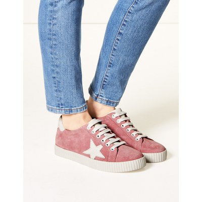 M&S Collection Wide Fit Leather Star Trainers
