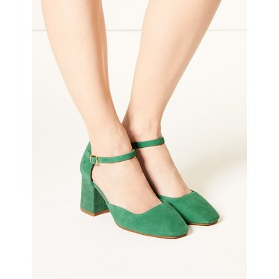 Wide Fit Suede Block HeelCourt Shoes green