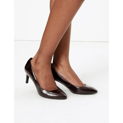 M&S Collection Wide Fit Leather Kitten Heel Court Shoe