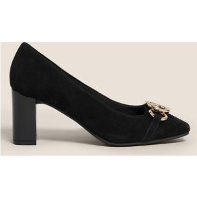 M&S Womens Wide Fit Suede Block Heel Court Shoes - 4 - Black, Black,Grey
