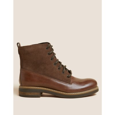 Leather Panel Lace-up Ankle Boots brown