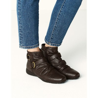 Leather Ruched Ankle Boots brown