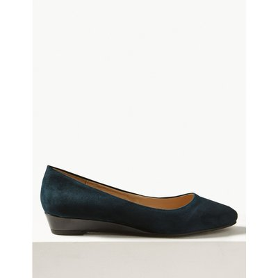 Suede Wedge Heel Court Shoes blue, Navy Mix