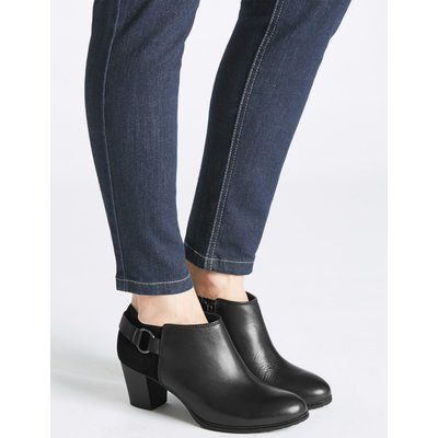 Leather Block Heel Shoe Boots black