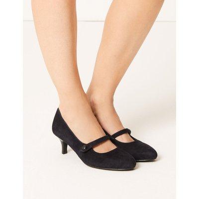 Wide Fit Suede Kitten Heel Court Shoes blue