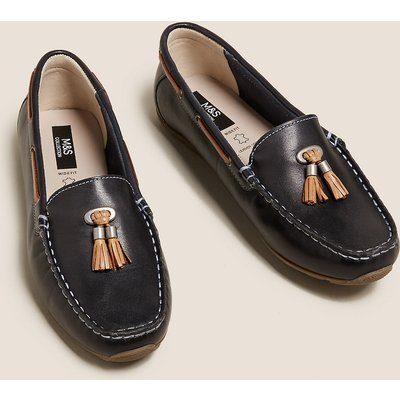 M&S Collection Wide Fit Leather Boat Shoes