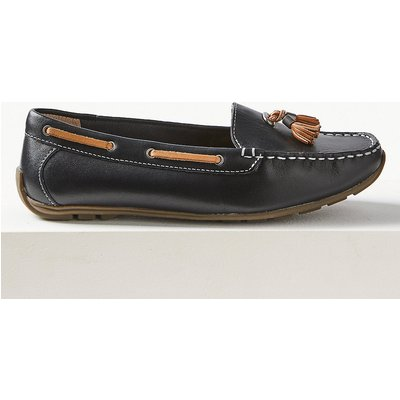 M&S Collection Wide Fit Leather Tassel Boat Shoes