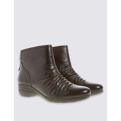 Leather Wedge Tassle Ruched Ankle Boots brown