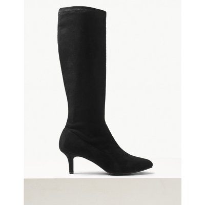 Kitten Heel Pointed Knee High Boots black