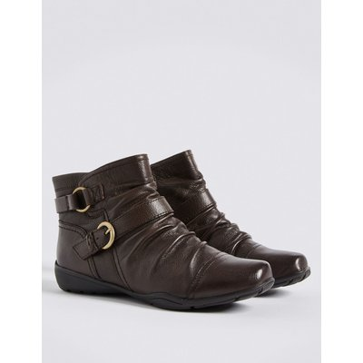 Wide Fit Leather Wedge Ruched Ankle Boots brown