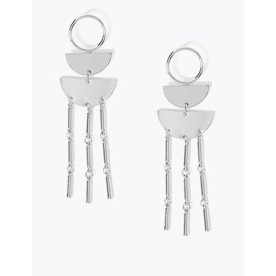 Half Moon Tassel Drop Earrings silver
