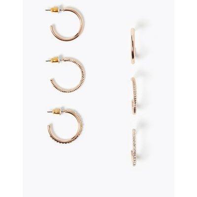 3 Pack Medium Hoop Earrings pink, Rose Mix