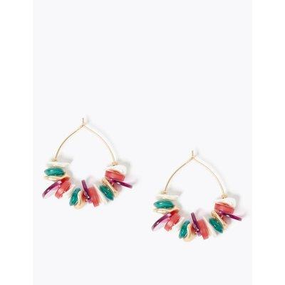 Shell Cluster Hoop Earrings pink