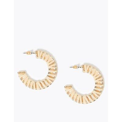 Raffia Hoop Earrings beige