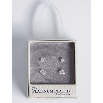 M&S Collection Platinum Plated Diamanté Stud Earrings Set, Silver