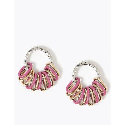 Link Hoop Earrings pink, Pink Mix