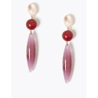 Triple Bead Drop Earrings pink